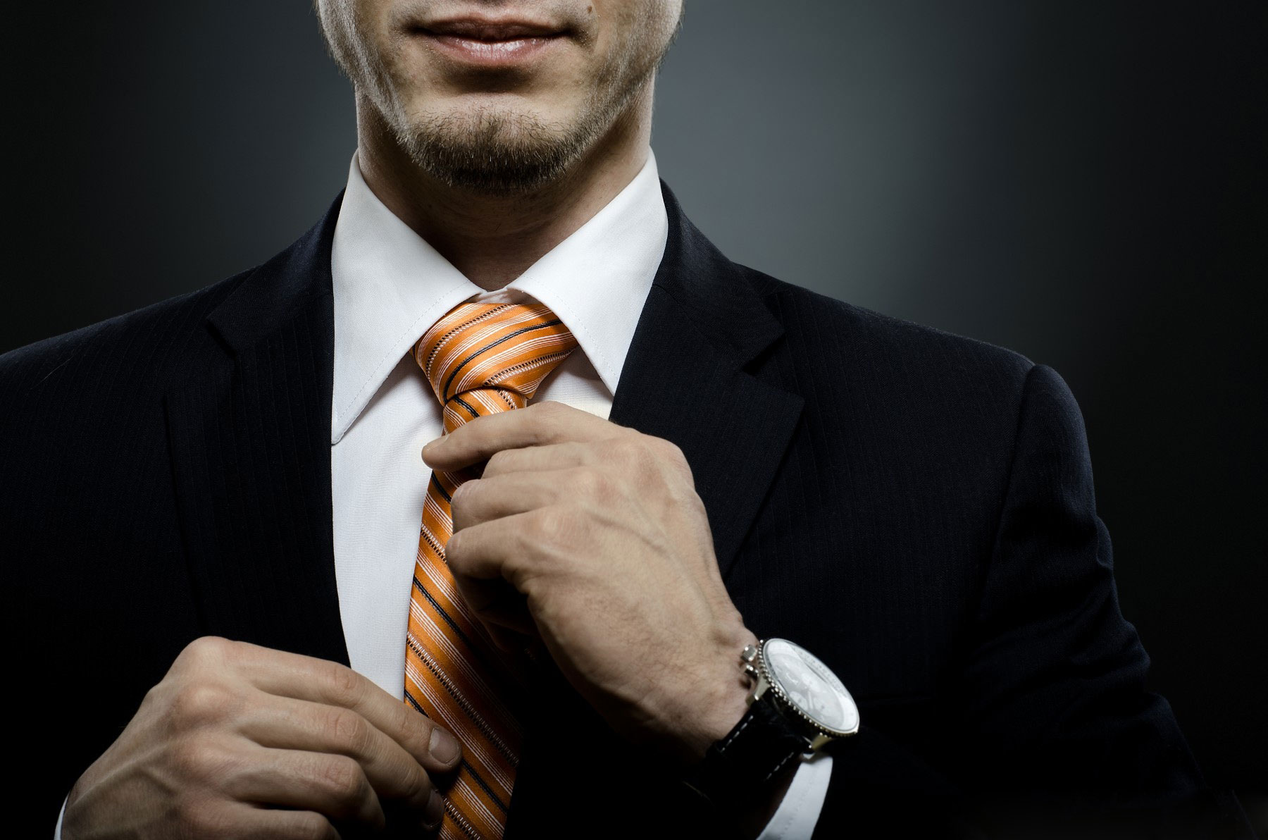 Beautiful-businessman-in-black-costume-tie-ones-necktie